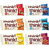 think! High Protein Bars - Variety Pack, 20g Protein, 0-3g Sugar, No Artificial Sweeteners, Gluten Free, GMO Free, 2.1-2.2 oz bar (12 Count)