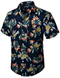 HISDERN Camisa Hawaiana Funky para Hombre Flores de Manga Corta Piña Camisa de Playa con Estampado Informal de Verano Aloha S