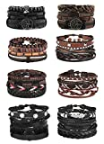 Jstyle 28Pcs Braided Leather Bracelet for Men Women Wooden Beaded Cuff Wrap Bracelet Adjustable C