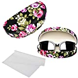 Oversized Hard Shell Sunglasses Case For Women Durable Protective Holder for Extra Large Reading Glasses With Clean Cloth (Black)