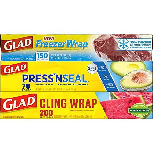 Glad® Plastic Food Wrap Variety Pack - Press'n Seal® Wrap - FreezerWrap - ClingWrap (Pack of 3)