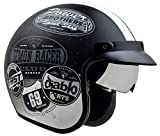 Vega Helmets 87037-053 X390 Retro Open Face Motorcycle Helmet w/Sunshield Unisex-Adult powersports (Old Skool Graphic, Medium)