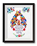 Uhomate Princess Belle Beauty and The Beast Beauty Beast Home Canvas Prints Wall Art Anniversary Gifts Baby Gift Inspirational Quotes Wall Decor Living Room Bedroom Bathroom Artwork C018 (8X10)