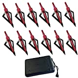 FOUUA Hunting Broadheads, 12Pack 3 Blades Crossbow Broadheads, 100 Grain Archery Broadheads for Crossbow and Compound Bow + 1 Pack Broadhead Storage Case