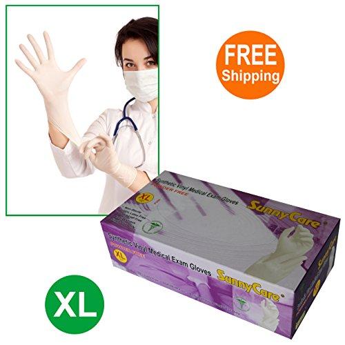 SunnyCare #7704-1BOX White Synthetic Vinyl Medical Exam Gloves Powder Free Size: X-Large 100pcs/box