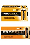 Duracell Procell AA 24 Pack, 9 Volt Batteries Pack of 12
