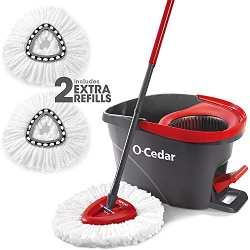 O-Cedar Easywring Microfiber Spin Mop & Bucket Floor Cleaning System with 2 Extra Refills