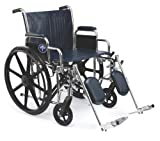 Medline Excel Extra-Wide Wheelchair, Wide Seat, Desk-Length Removable Arms, Elevating Legrests, Chrome Frame Seat: 22' x 18'