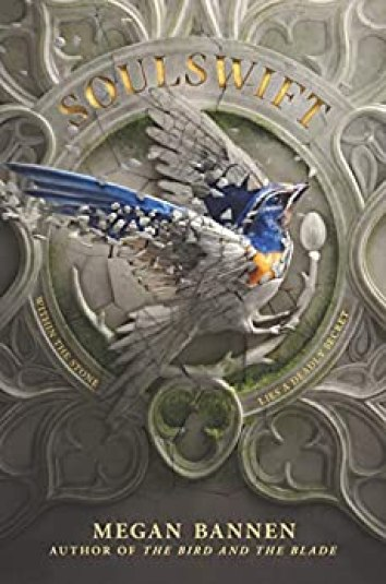 """On the book cover a bird with with blue wings and a blue head and yellow chest is breaking out of being incased stone carving around it there is lots of scroll work and fancy three tipped imprints. In gold reads """"within the stone lies a deadly secret"""" The title Soulswift is also written across the top in the same color of gold writing above the bird."""