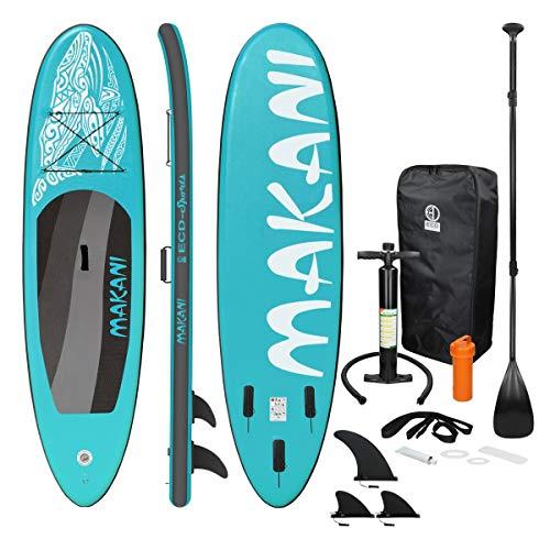 ECD Germany Stand Up Paddle Board Gonflable Makani | 320 x 82 x 15 cm | jusqu'à 150 kg | PVC | Turquoise | Pompe à Air Pagaie Sac de Transport Accessoires | Planche de Surf | Sup Board Paddling
