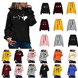 Sweat a Capuche Femme Hoodies Sweat Shirt Femme Manches Longues Cordon De Serrage T-Shirt Sportswear Ample Sweatshirt Vintage Imprimé De Amour ECG Blouse Sport...