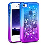 Ruky iPhone 4 Case, iPhone 4S Case, Gradient Quicksand Series Glitter Flowing Liquid Floating Protective Shockproof Clear TPU Girls Case for iPhone 4 4S (Blue Purple)