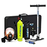 DEDEPU Scuba Tank with Snorkel Mask Manual Pump Diving Gear for Diver Mini Diving Tank Diving Cylinder S5000PLUS-Package D Underwater Breathing Device (Green)
