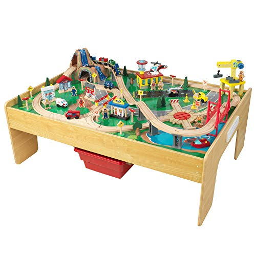 KidKraft Adventure Town Railway Wooden Train Set & Table with EZ Kraft Assembly with 120 Accessories and Storage Bins, Gift for Ages 3+