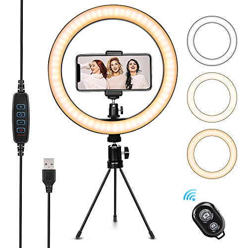 10.2' Selfie Ring Light with Tripod Stand & Cell Phone Holder,Dimmable Led Camera Beauty Ringlight for Live Stream,Makeup,YouTube Video,Photography, 3 Light Modes and 10 Brightness Levels