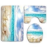 Beach Theme Seashell Bathroom Rugs Set 3 Piece,Beach Bath Rugs Mats Non-Slip Bathroom Cushion Pad Including Bath Pad,Pedestal Mat,Toilet Seat Lid Cover