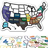 RV State Sticker Travel Map - 11' x 17' - USA States Visited Decal - United States Non Magnet Road Trip Window Stickers - Trailer Supplies & Accessories - Exterior or Interior Motorhome Wall Decals