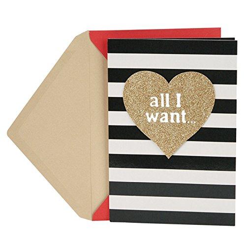 Hallmark Mahogany Valentine's Day Card for Husband or Boyfriend (Gold Heart and Stripes)