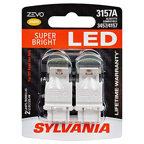 SYLVANIA - 3157 ZEVO LED Amber Bulb - Bright LED Bulb, Ideal for Park and Turn Lights (Contains 2 Bulbs)