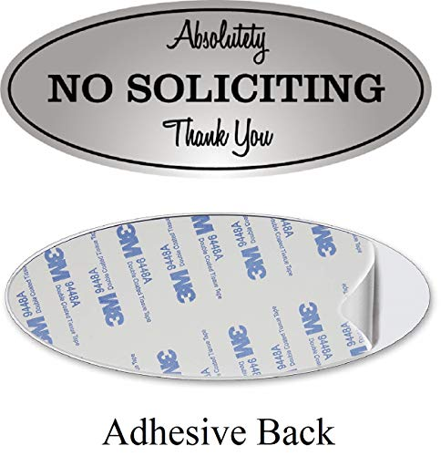 Absolutely No Soliciting Sign for House Private Property Business PVC Acrilyc Board Printed Self Adhesive Modern Design for Doors Windows or Any Other Flat Surface Outdoor Indoor Use