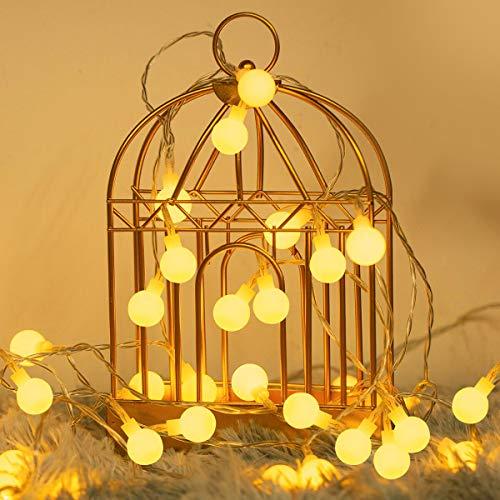 Fulighture LED Kugel Lichterkette, 5M(16.41FT) 40er Globe LED, Batteriebetrieben, 2700K Warmweiß, IP65 Wasserdicht, Ideal für Weihnachten, Party, Garten, Hochzeit, Balkon, Deko, [Energieklasse A+]