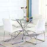 Dining Table Set for 4,Modern Kitchen Table and Chairs for Small Space,Round Glass Dining Table+Faux Leather Dining Room Chairs Set of 5 Pieces,Easy Assembly for Home Business(Table+4 White Chairs)
