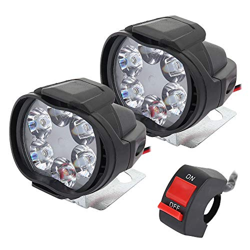 2 Stück Motorrad-Strahler, wasserdicht, universell, 6 LEDs, Motorrad, Fahrrad, Nebelscheinwerfer, Motorroller, Scheinwerfer für Motorräder, Scheinwerfer mit Schalter