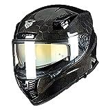 VCOROS FA-602 Carbon Fiber Full Face Motorcycle Helmet Unisex-Adult Dual Visor Helmets(Hexagon Carbon Fiber,M)