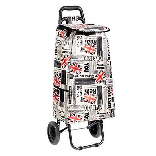 Amazon Basics – Einkaufstrolley mit 2 Rollen, 40 l, Patchwork-Design