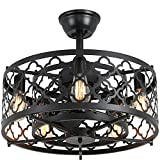 SUNVIE Caged Ceiling Fan with Lights Remote Control 21in industrial Bladeless Ceiling Fan Black Enclosed Ceiling Fan Light with Reversible Motor for Bedroom Kitchen Living Room 5 × E26 Base(No Bulb)