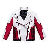 Budermmy Boys Leather Motorcycle Pilot Jackets Toddler Coats White Size 8