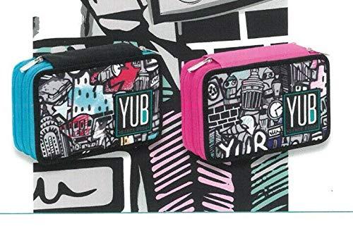 Astuccio Scuola Yub 3 Zip Graffiti Girl Nero-Rosa 1901-Seven