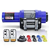 BIGTUR 12V 4500lb Electric Winch Towing Steel Cable Winch Off-Road Recovery with Wireless Remote Control IP67 Waterproof Winch for SUV, Truck, ATV, UTV (H-Model, Blue)