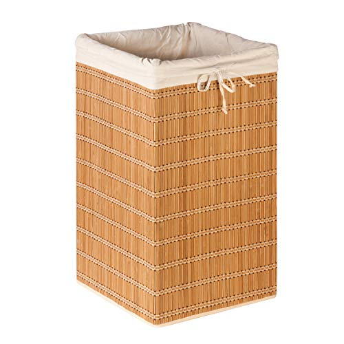 Honey-Can-Do Bamboo Wicker Laundry Hamper with Removable Canvas Bag