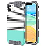 ULAK Compatible with iPhone 11 Case, Slim Hybrid Hard PC Shell Shockproof Phone Case for Women Girls, Anti-Scratch Protective Bumper Cover for iPhone 11 6.1 inch, Mint Stripes