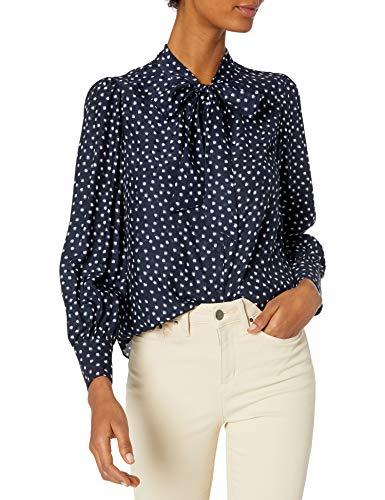 514aGQByahL. SL500 Long Sleeve Straight edge hem flowy blouse removable necktie button-down