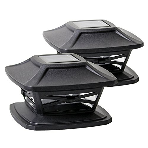 Davinci Flexfit Solar Post Cap Lights - Outdoor Lighting for 4x4 5x5 and 6x6 Wooden Posts - Bright Warm White LEDs - Slate Black (2 Pack)