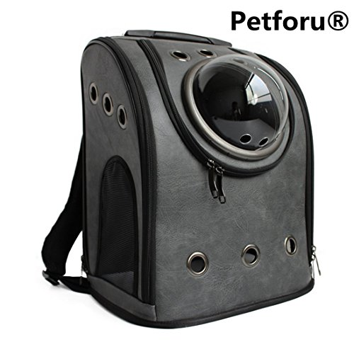 Pet Carrier Backpack, Petforu Space Capsule Dog Cat Small Animals Travel Bag - Dark Grey