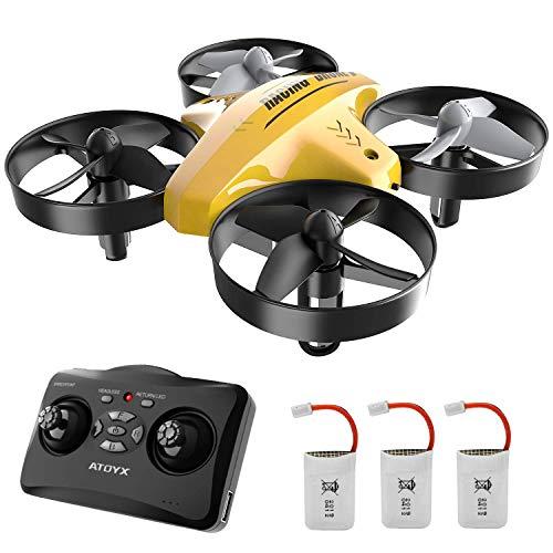 ATOYX 66C RC Mini Drone con Telecomando Funzione di Sospensione Altitudine modalit Headless 3 velocit 3D Flip Protezioni a 360per Bambini e Principianti (Giallo)
