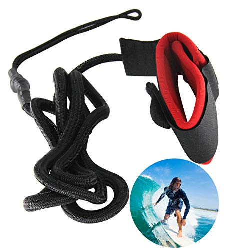 Generies Surfboard Leash, 10ft Leash mit Fußschlaufe Klettverschluss für Board Surfboard(Rot + Schwarz)