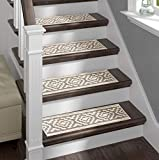Sofia Rugs Shaggy Stair Treads - White Aura - Carpet Runner Strips for Staircase Steps - Rug-Soft Fabric for Traction and Non-Slip Improvement - Includes Double Sided Adhesive Tape