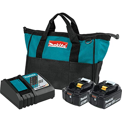 Makita BL1850BDC2 18V LXT Lithium-Ion Battery and Rapid Optimum Charger Starter Pack (5.0Ah)