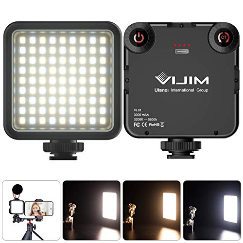 LED Video Light Dimmerabile Mini LED Luce Video Ultra Videocamera a Pannello,Luce Universale per Fotocamera,per Smartphone Telecamera Pocket Vlog Light 3000mAh Batteria