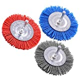 Swpeet 3Pcs 3Inch 80# 120# 240# Abrasive Nylon Wheel Brush Set with 1/4 Inch Shank, 3 Grit Nylon Drill Brush Set Perfect for Removal of Rust/Corrosion/Paint - Reduced Wire Breakage and Longer Life