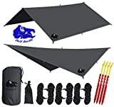 Chill Gorilla 10x10 Hammock Rain Fly Camping Tarp. Ripstop Nylon. 170' Centerline. Stakes, Ropes & Tensioners Included. Camping Gear & Accessories. Perfect Hammock Tent. Gray