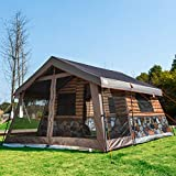 Timber Ridge Family Camping Tent 13 and 13 feet Log Cabin Vacation Home Portable Rain Fly with Roller Carry Bag