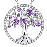 GinoMay Valenteins Day Jewellery Tree of Life Necklace Sterling Silver February Birthstone Amethyst Jewellery for Her Birthday Gifts