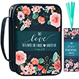 """Bible Cover, Carrying Book Case Church Bag Bible Protective with Handle and Front Pocket, Perfect Gift for Mother Kids Girls Women 10""""x7.5""""x2.4""""(Navy Floral)"""