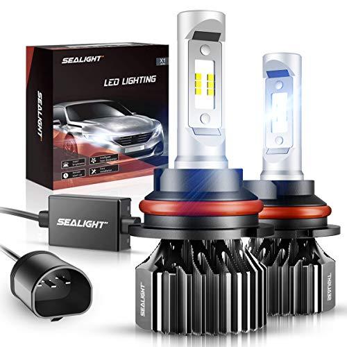 SEALIGHT 9007/HB5 LED Headlight Bulbs Dual High/Low Beam Bulbs X1 Series 6000LM 6000K Xenon White