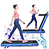 GYMAX 2 in 1 Folding Treadmill, 2.25HP Under Desk Electric Pad Treadmill, Portable Walking Jogging Running Machine, Motorized Flat Treadmill with Audio Bluetooth Speakers, Remote Controller (Navy)